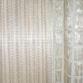 Органза портьерная двойная молочная с бежевыми и белыми нитями в квадраты ш.270 оптом