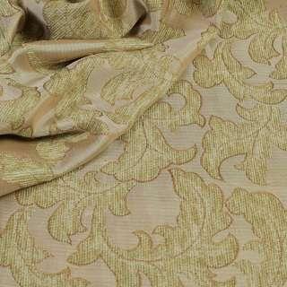 ткань порт.фукра-рогожка бежево-оливковая с листами оптом