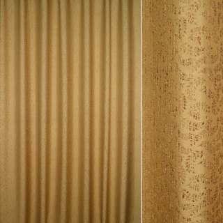 ткань порт.фукра горчичная рогожка с мелкими ветками оптом