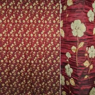 ткань порт.фукра бордовая с оливковыми цветами оптом