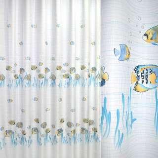 ткань порт. белая с голубыми рыбками ш.280 оптом