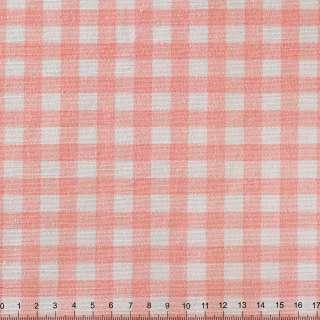 Рогожка портьєрна рожева в клітку ш.150 оптом