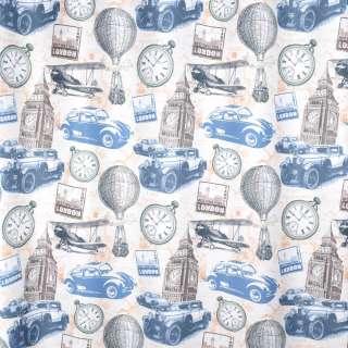 Креп портьерный кремовый, Лондон, башни, часы, ш.280 оптом