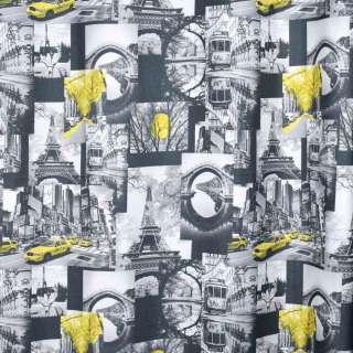 Креп портьерный черный, черно-белые фото, Эйфелева башня, ш.280 оптом
