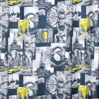 Креп портьєрний сірий темний, чорно-білі фото, Ейфелева вежа, ш.280 оптом