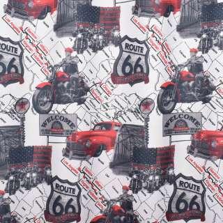 Креп портьєрний білий, червона машина, карта США, ш.280 оптом