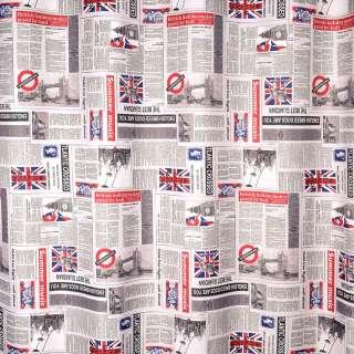 Креп портьерный серый, английская газета, ш.280 оптом