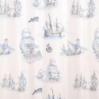 Полікотон портьєрний бежевий, сіро-блакитні фрегати, ш.280 оптом