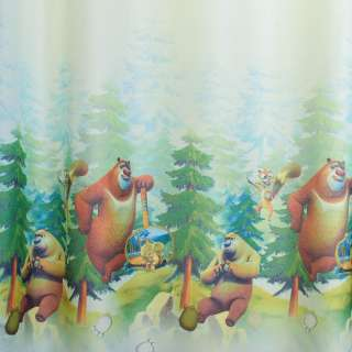 Креп портьерный голубой, Медведи-соседи, ш.280 оптом