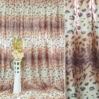 """атлас в бежево-белые+розовые полосы """"леопард"""" ш.280 оптом"""
