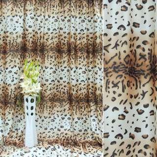 "атлас в бежево-белые+коричневые полосы ""леопард"" ш.280 оптом"