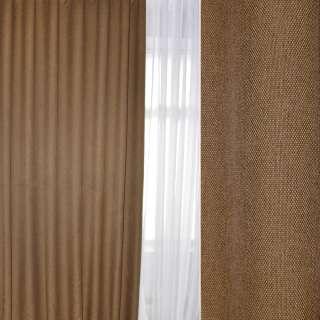 Блэкаут лен рогожка коричневая светлая, ш.280 оптом