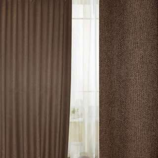 Блэкаут лен рогожка коричнево-горчичная темная ш.280 оптом