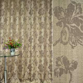 Лен жаккард. св/коричневый с бежевыми цветами и завитками ш.280 оптом