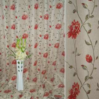 лен жак. мол.-розов. с красн.цветами и бутон. на веточ оптом