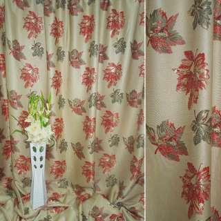 лен жак. св/оливковый с зелено-красн. листьями ш.280 оптом