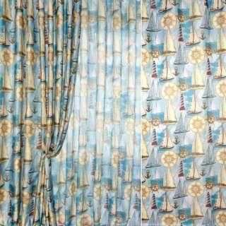 Блекаут лен рогожка голубая в корабли и маяки ш.280 оптом