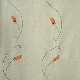 Рогожка портьерная зеленая вышитая с оранжевыми розами ш.280 оптом
