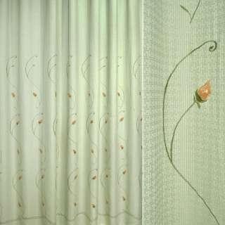 Рогожка портьерная оливковая вышитая с оранжевыми розами ш.280 оптом