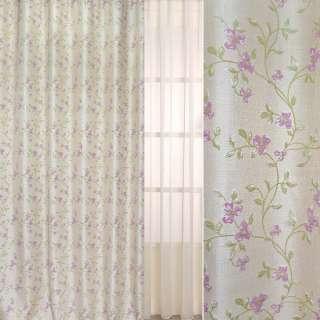 Рогожка-фукра бежевая светлая с люрексом с вьющимися розовыми цветами ш.280 оптом