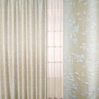 Рогожка-фукра бежевая светлая с люрексом с вьющимися бледно-голубыми цветами ш.280 оптом
