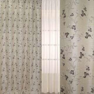 Рогожка-фукра бежевая светлая с люрексом с вьющимися коричневыми цветами ш.280 оптом
