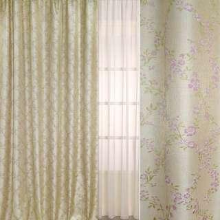 Рогожка-фукра бежевая светлая с люрексом с ромбами из розовых цветов ш.280 оптом