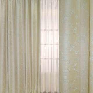 Рогожка-фукра бежевая светлая с люрексом с ромбами из бледно-голубых цветов ш.280 оптом