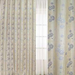 Рогожка-фукра бежевая светлая с люрексом с серебристо-серыми цветами ш.280 оптом