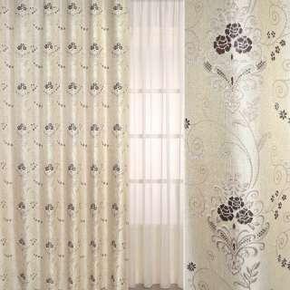 Рогожка-фукра бежевая светлая с люрексом с коричневыми цветами и завитками ш.280 оптом