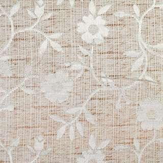 Рогожка портьерная молочно-коричневая с белыми цветами ш.280 оптом