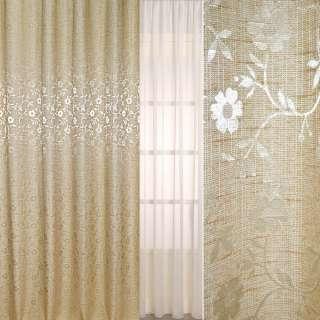 Рогожка портьерная бежевая светлая с цветами ш.280 оптом