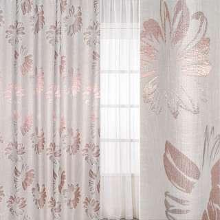 Рогожка молочно-розовая с крупными цветами, ш.280 оптом