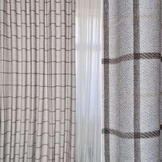 Рогожка портьерная серебристая в коричнево-бежевые квадраты ш.280 оптом