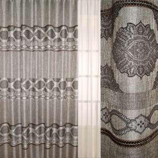 Рогожка серая с люрексом, мережка, коричневый вензель ш.280 оптом