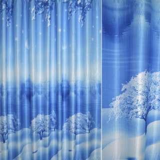 "атлас фото голуб.Зима, церковь"" ш.280 оптом"