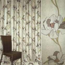 Блэкаут серо-оливковый с цветами ш.280