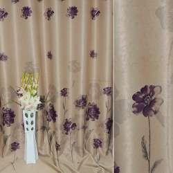 Блэкаут песочный с фиолетовыми цветами Япония ш.270