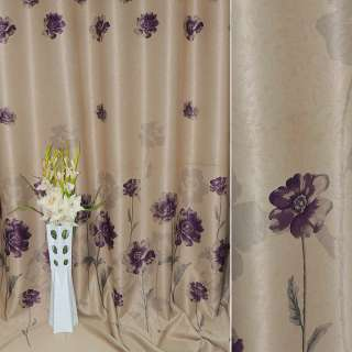 блэкаут песочный с фиолетовыми цветами Япония ш.270 оптом