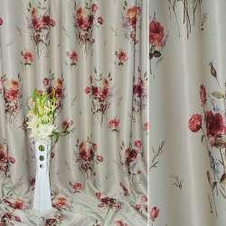 Блэкаут серый светлый с красными розами ш.270