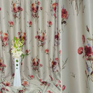 блэкаут светло-серый с красными розами ш.270 оптом