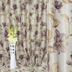 Блэкаут серый светлый с вьющимися коричнево-фиолетовыми цветами ш.270