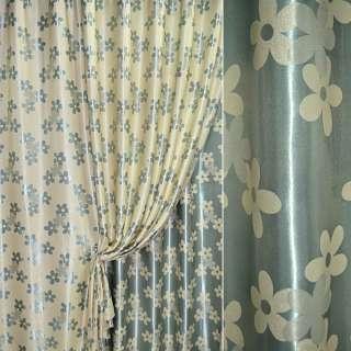 Блекаут 2-х стор ванильно-бирюзовый с цветами ш.280 оптом