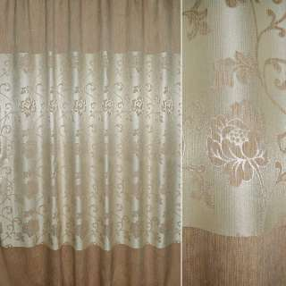 Шенилл бежево-молочный купон, в центре цветы с люрексом ш.280 оптом