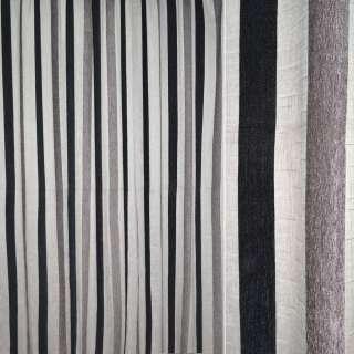 Шенилл портьерный молочный в серые, черные широкие полоски ш.280 оптом