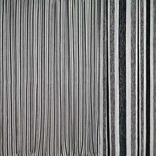 Шенилл портьерный молочный в серые, черные полоски с люрексом ш.280 оптом
