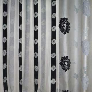 Шенилл портьерный молочный в серые, черные полоски с цветами ш.280 оптом