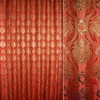 Шенилл жаккардовый красный с золотым бутоном, ш.280 оптом