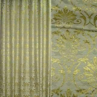 Шенилл жаккардовый зеленый с золотым рисунком, ш.280 оптом
