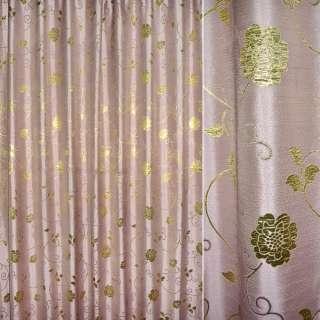 Шенилл жаккардовый розовый с золот.цветами и веточ, ш.280 оптом